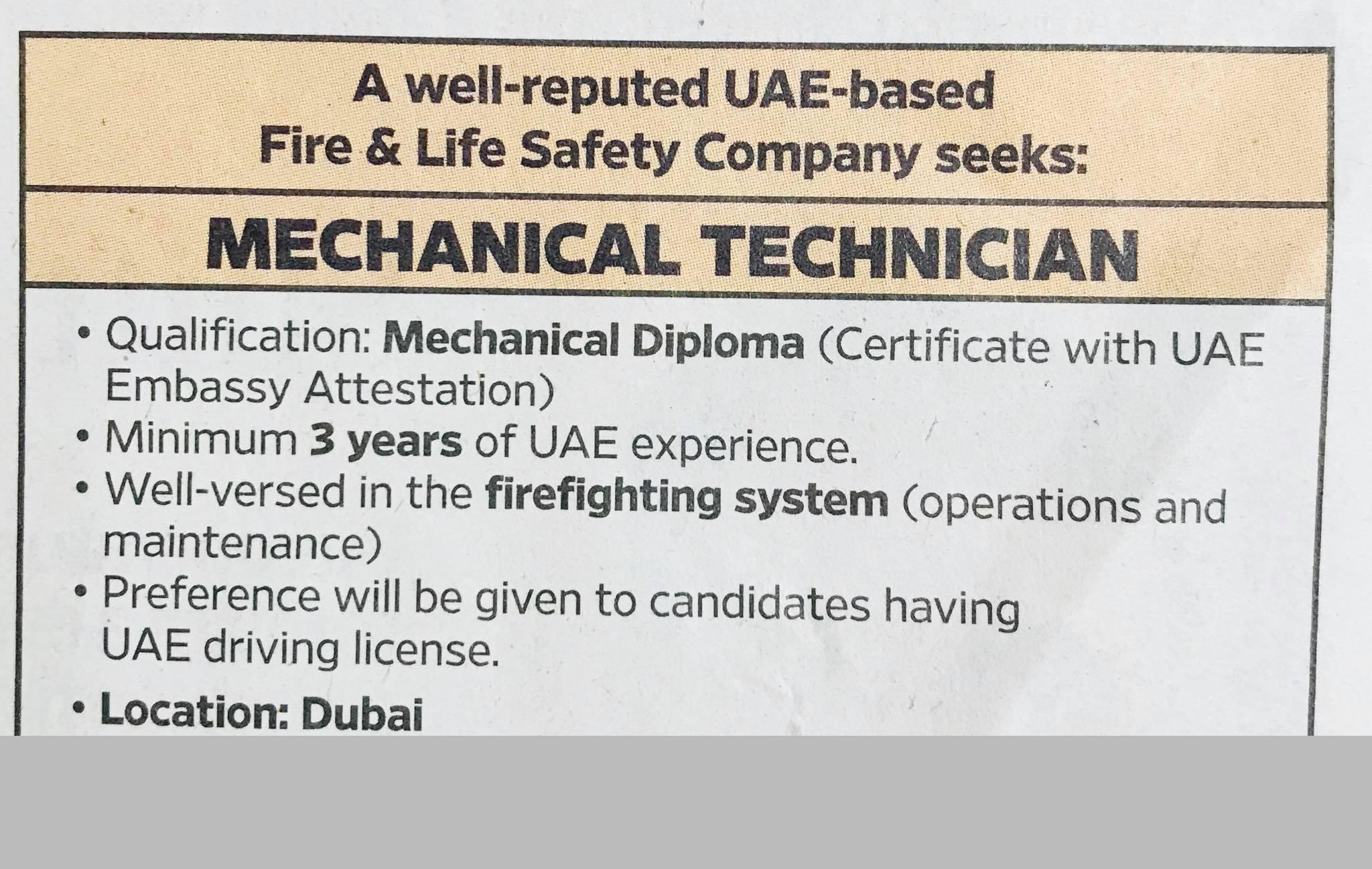 Mechanical Technician for a Well Reputed Fire and Safety Company