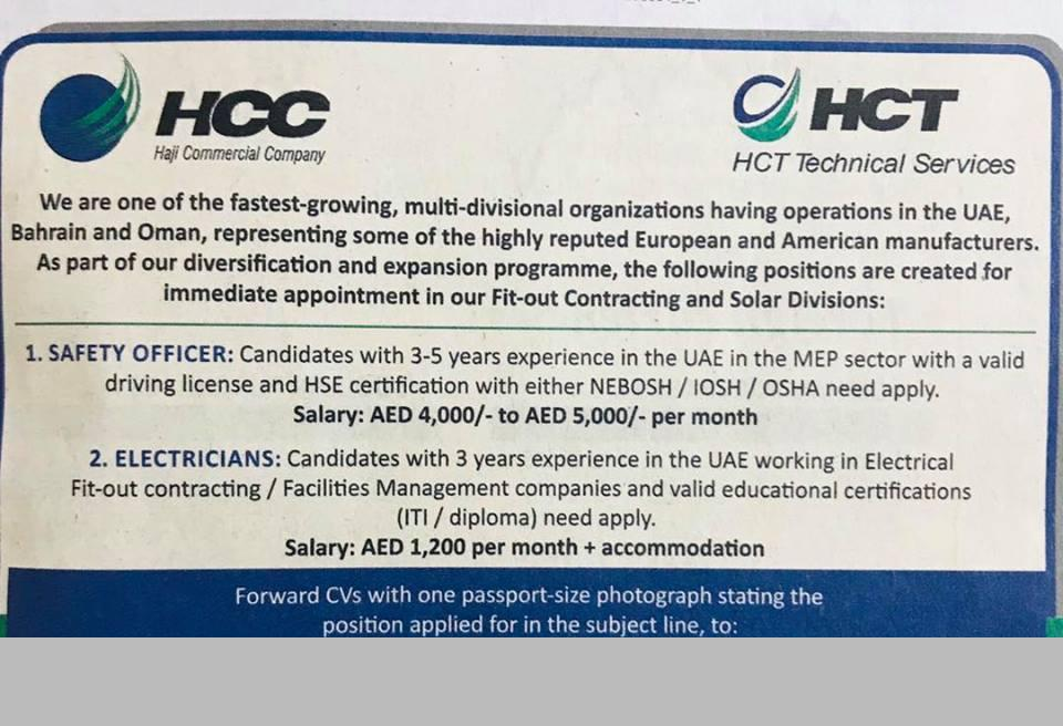 Safety Officer , Electrician for HCT Technical Services - Job Vacancy