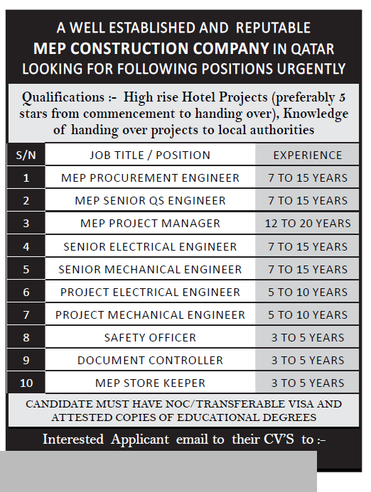 for a Reputable MEP Construction Company - Job Vacancy