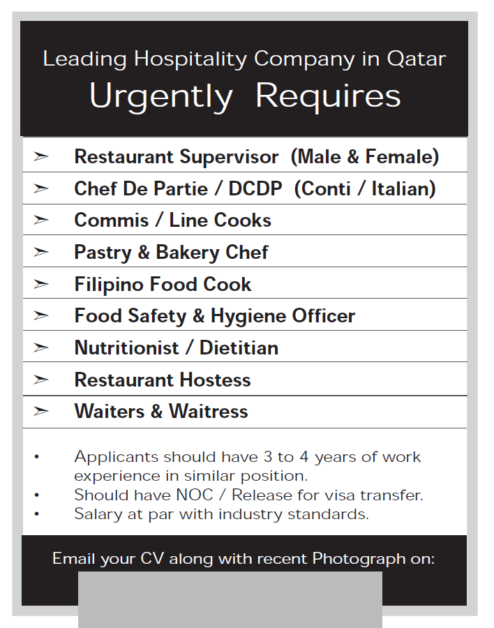 for a Leading Hospitality Group - Job Vacancy