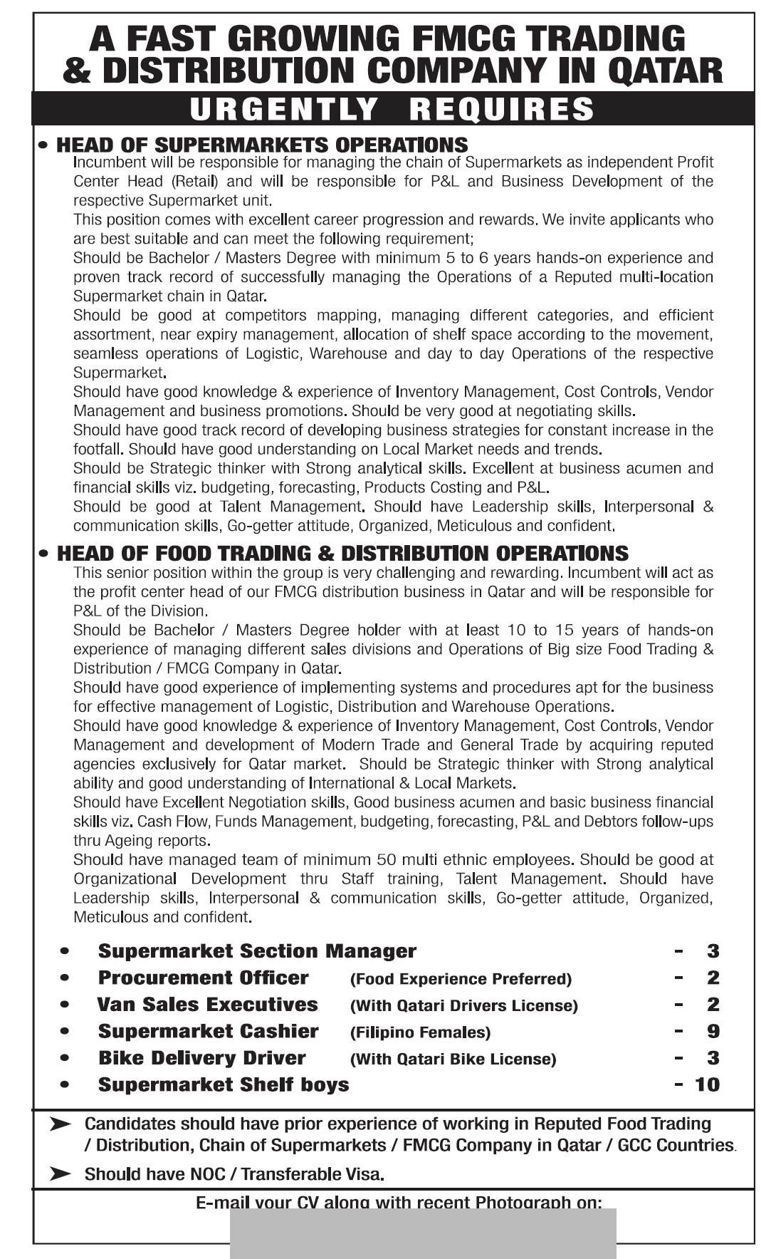 for a Fast Growing FMCG Trading &Distribution Company - Job Vacancy