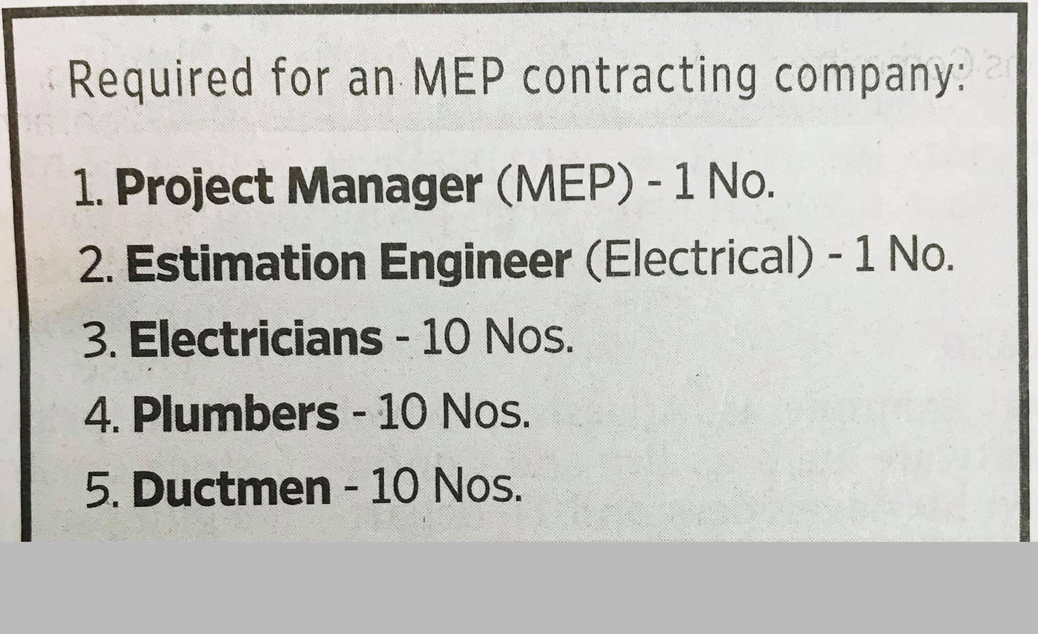 for an MEP Contracting Company - Job Vacancy
