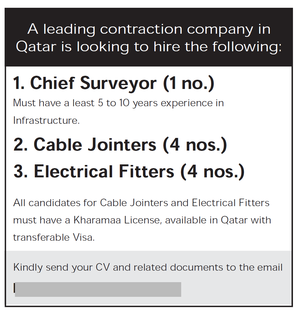 Chief Surveyor , Cable Jointers ,Electrical Fitters for a Leading