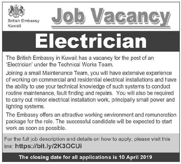 Electrician for the British Embassy - Job Vacancy