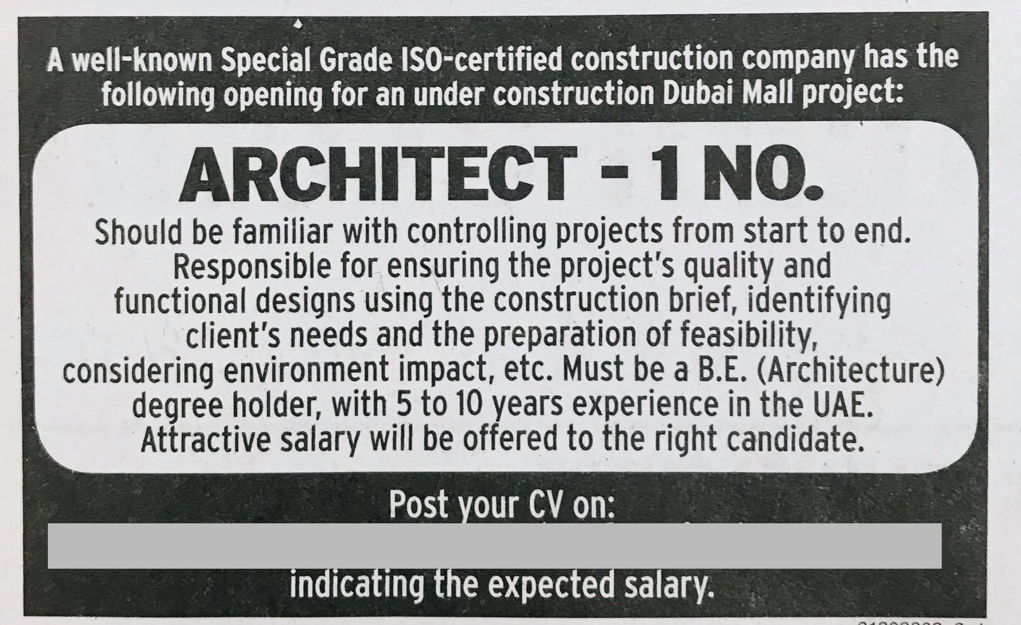 Architect for a Construction Company - Job Vacancy