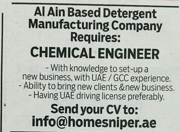 Chemical Engineer for a Manufacturing Company - Job Vacancy